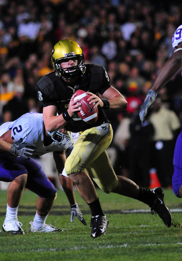 18 October 08: Colorado quarterback Tyler Hansen looks for an open receiver against Kansas State. The Colorado Buffaloes defeated the Kansas State Wildcats 14-13 at Folsom Field in Boulder, Colorado.