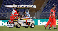 Calcio, Serie A: Lazio vs Bologna. Roma, stadio Olimpico, 22 agosto 2015.<br /> Lazio&rsquo;s Lucas Biglia is carried out of the pitch after being injured during the Italian Serie A football match between Lazio and Bologna at Rome's Olympic stadium, 22 August 2015.<br /> UPDATE IMAGES PRESS/Isabella Bonotto