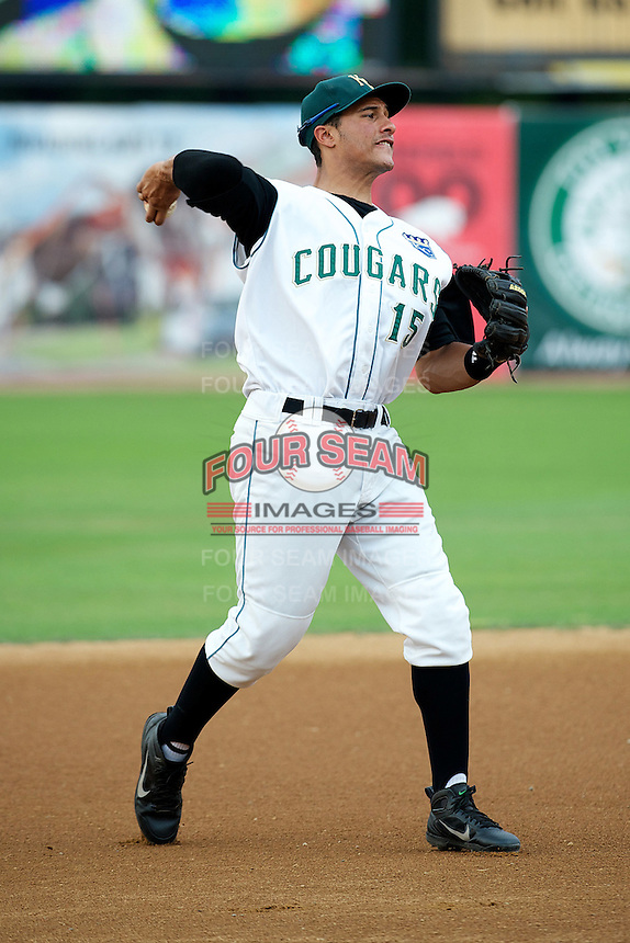 Kane County Cougars Michael Antonio #15 during a game against the Burlington Bees at Fifth Third Bank Ballpark on June 28, 2012 in Geneva, Illinois.  Kane County defeated Burlington 6-5.  (Mike Janes/Four Seam Images)
