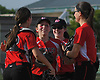 Wheatley teammates celebrate after their win over Oyster Bay in Game 2 of the best-of-three Nassau County varsity softball Class B final at Mitchel Athletic Complex on Wednesday, May 24, 2017.