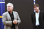 """Alan Menken and Glenn Slater during the open press rehearsal for """"A Bronx Tale - The New Musical""""  at the New 42nd Street Studios on October 21, 2016 in New York City."""