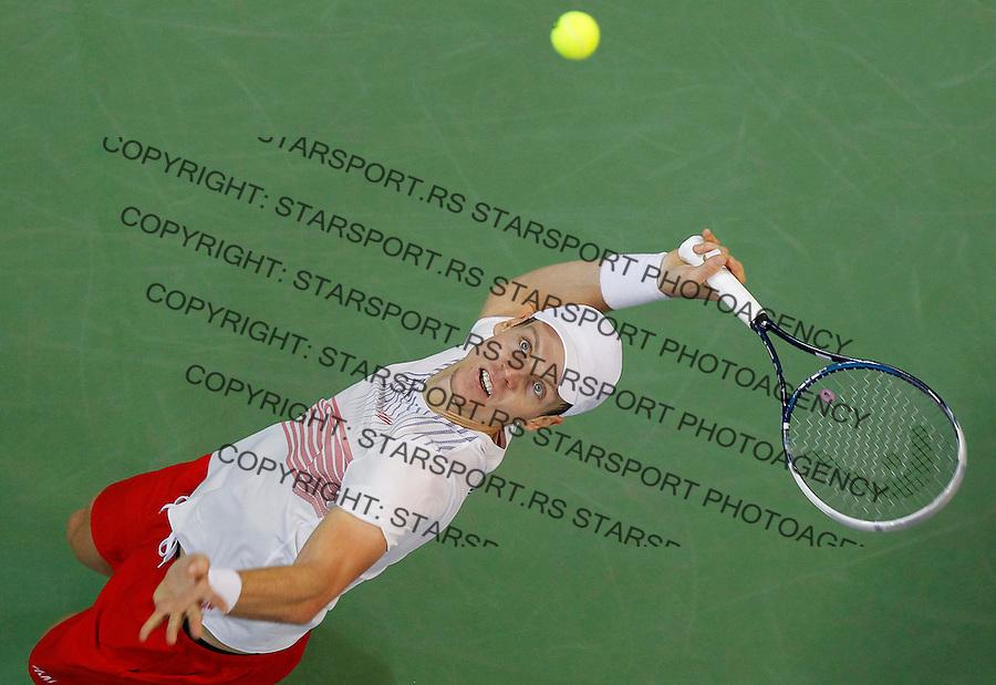 Tennis Tenis<br /> Davis Cup Final 2013<br /> Serbia v Czech Republic<br /> Novak Djokovic v Tomas Berdych<br /> Tomas Berdych in action<br /> Beograd, 17.11.2013.<br /> foto: Srdjan Stevanovic/Starsportphoto &copy;