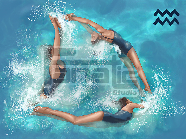 Illustrative image of women performing aerobics representing Aquarius sign