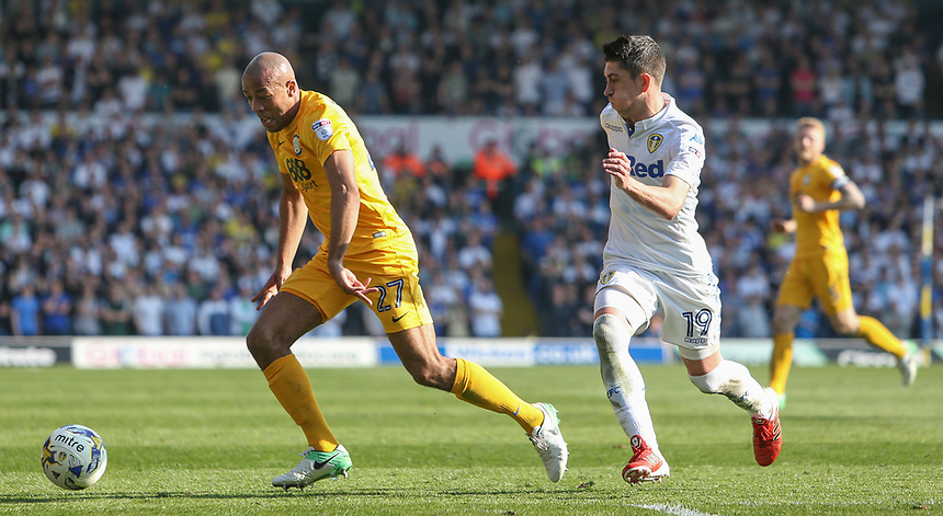 Preston North End's Alex John-Baptiste gets away from Leeds United's Pablo Hernandez<br /> <br /> Photographer Alex Dodd/CameraSport<br /> <br /> The EFL Sky Bet Championship - Leeds United v Preston North End - Saturday 8th April 2017 - Elland Road - Leeds<br /> <br /> World Copyright &copy; 2017 CameraSport. All rights reserved. 43 Linden Ave. Countesthorpe. Leicester. England. LE8 5PG - Tel: +44 (0) 116 277 4147 - admin@camerasport.com - www.camerasport.com