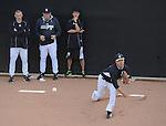 (R-L) Masahiro Tanaka (Yankees),  Shingo Horie, Larry Rothschild, Joe Girardi (Yankees), FEBRUARY 26, 2015 - MLB : Masahiro Tanaka of the New York Yankees practices pitching in the bullpen during the New York Yankees spring training camp in Tampa, Florida, United States. (Photo by AFLO)