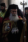 "Patriarch Theophilos III of Jerusalem is the current Patriarch of the Orthodox Church of Jerusalem. He is styled ""Patriarch of the Holy City of Jerusalem and all Palestine, during prayers on Saturday at the Church of the Holy Sepulchre in Jerusalem on Apr. 06, 2013. Photo by Sliman Khader"