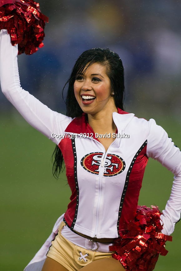 San Francisco 49ers cheerleader cheers during an NFC Championship NFL football game against the New York Giants on January 22, 2012 in San Francisco, California. The Giants won 20-17 in overtime. (AP Photo/David Stluka)