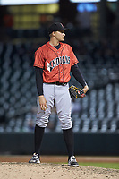 Indianapolis Indians relief pitcher Dovydas Neverauskas (39) looks to his catcher for the sign against the Charlotte Knights at BB&T BallPark on May 26, 2018 in Charlotte, North Carolina. The Indians defeated the Knights 6-2.  (Brian Westerholt/Four Seam Images)