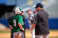 Farmingdale Rams second baseman Joshua Shapiro (9) talks with coach Matt Heenan during a game against the Union Dutchmen on February 21, 2016 at Chain of Lakes Stadium in Winter Haven, Florida.  Farmingdale defeated Union 17-5.  (Mike Janes/Four Seam Images)