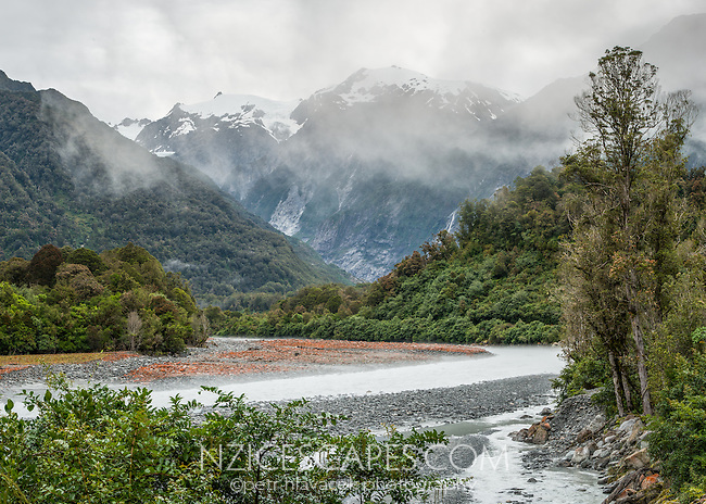 Moody views of Franz Josef Glacier valley with Waiho River, Westland Tai Poutini National Park, West Coast, South Westland, UNESCO World Heritage Area, New Zealand, NZ