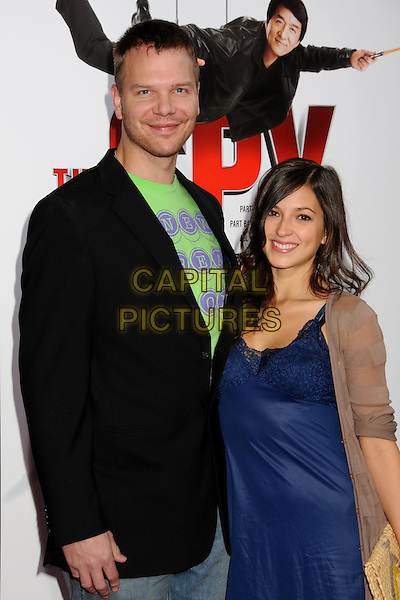 "JIM PARRACK & GUEST  .""The Spy Next Door"" Los Angeles Premiere held at The Grove,  Los Angeles, California, USA, .9th January 2010..half length black suit jacket blazer blue .CAP/ADM/BP.©Byron Purvis/Admedia/Capital Pictures"