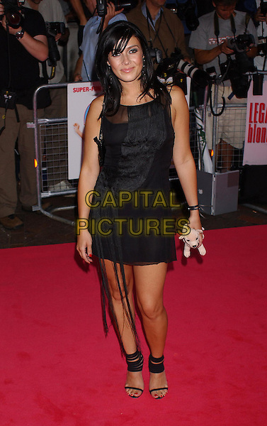 KYM MARSH.Legally Blonde 2 Premiere, Empire, Leicester Square, London.23rd July 2003.Kim, stuffed toy, ankle straps, tassles, full length, full-length.www.capitalpictures.com.sales@capitalpictures.com.Supplied By Capital PIctures
