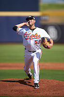 Peoria Javelinas pitcher Stefan Crichton (53), of the Baltimore Orioles organization, during a game against the Surprise Saguaros on October 12, 2016 at Peoria Stadium in Peoria, Arizona.  The game ended in a 7-7 tie after eleven innings.  (Mike Janes/Four Seam Images)