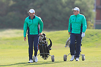 Robbie Cannon and James Sugrue from Ireland on the 11th fairway after Round 1 Foursomes of the Men's Home Internationals 2018 at Conwy Golf Club, Conwy, Wales on Wednesday 12th September 2018.<br /> Picture: Thos Caffrey / Golffile<br /> <br /> All photo usage must carry mandatory copyright credit (© Golffile | Thos Caffrey)