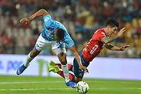 MEDELLIN - COLOMBIA, 09-02-2019: German Cano del Medellín disputa el balón con Julio Murillo de Union durante partido por la fecha 4 de la Liga Águila I 2019 entre Deportivo Independiente Medellín y Union Magdalena jugado en el estadio Atanasio Girardot de la ciudad de Medellín. / German Cano of Medellin vies for the ball with Julio Murillo of Union during match for the date 4 of the Aguila League I 2019 between Deportivo Independiente Medellin and Union Magdalena played at Atanasio Girardot stadium in Medellin city. Photo: VizzorImage / Leon Monsalve / Cont