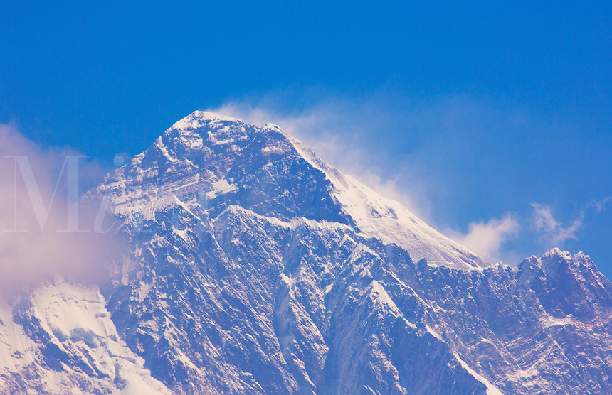 Nepal Himalayas Mountains  Mount Everest in the late morning, shot from the look-out point above Namche Bazarre remote