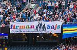 Solna 2015-08-10 Fotboll Allsvenskan AIK - Djurg&aring;rdens IF :  <br /> Djurg&aring;rdens supportrar med en banderoll om AIK:s supportergrupp Firman Boys inf&ouml;r matchen mellan AIK och Djurg&aring;rdens IF <br /> (Foto: Kenta J&ouml;nsson) Nyckelord:  AIK Gnaget Friends Arena Allsvenskan Djurg&aring;rden DIF supporter fans publik supporters
