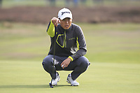 Daniel Im (USA) on the 14th green during Round 1of the Sky Sports British Masters at Walton Heath Golf Club in Tadworth, Surrey, England on Thursday 11th Oct 2018.<br /> Picture:  Thos Caffrey | Golffile<br /> <br /> All photo usage must carry mandatory copyright credit (© Golffile | Thos Caffrey)