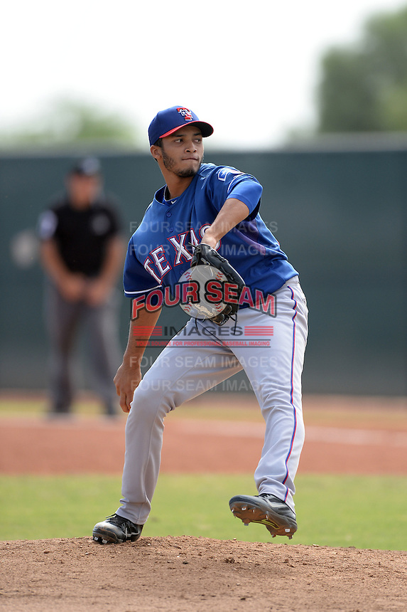 Texas Rangers pitcher Marcos Diplan (73) during an Instructional League game against the NC Dinos on October 9, 2013 at Surprise Stadium Training Complex in Surprise, Arizona.  (Mike Janes/Four Seam Images)