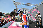 Thibaut Pinot (FRA) Groupama-FDJ at sign on before the start of Stage 18 of the 2018 Giro d'Italia, running 196km from Abbiategrasso to Prato Nevoso, Italy. 24th May 2018.<br />