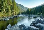 Idaho, North Central, Clearwater National Forest. Summer evening on the Lochsa River.