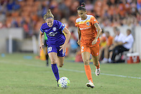 Houston, TX - Saturday Sept. 03, 2016: Maddy Evans, Poliana Barbosa during a regular season National Women's Soccer League (NWSL) match between the Houston Dash and the Orlando Pride at BBVA Compass Stadium.