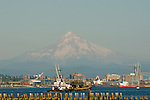 Tug Boat Approaching Port of Vancouver with Mt. Hood