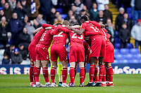 1st February 2020; St Andrews, Birmingham, Midlands, England; English Championship Football, Birmingham City versus Nottingham Forest; Nottingham Forest team huddle before the game
