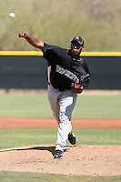 Juan Nicasio of the Colorado Rockies pitches in a minor league spring training game against the Los Angeles Angels at the Angels minor league complex on March 18, 2011  in Tempe, Arizona. .Photo by:  Bill Mitchell/Four Seam Images.