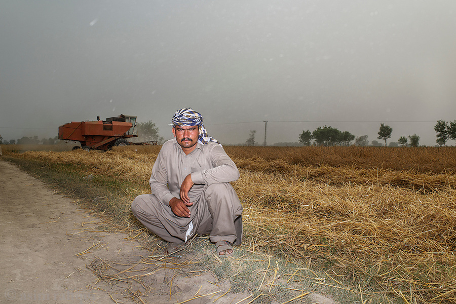 A tenant farmer waits as a harvestor attempts to cut a wheat field. The field is a disputed site, with the military claiming it as their land, and the peasants claiming that it belongs to those who planted the harvest. The harvestor was eventually stopped by the police form completing its work, and the harvest was confiscated by the police.