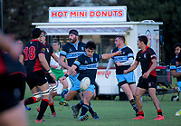 Action from the Manawatu Hankins Shield club rugby match between Kia Toa and Linton at Bill Brown Park in Palmerston North, New Zealand on Saturday, 2 May 2018. Photo: Dave Lintott / lintottphoto.co.nz
