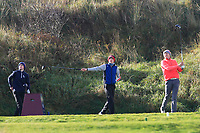David Kitt (Athenry), Thomas Higgins (Roscommon) and Alex MaGuire (Laytown &amp; Bettystown) on the 10th tee during Round 3 of the Ulster Boys Championship at Portrush Golf Club, Portrush, Co. Antrim on the Valley course on Thursday 1st Nov 2018.<br /> Picture:  Thos Caffrey / www.golffile.ie<br /> <br /> All photo usage must carry mandatory copyright credit (&copy; Golffile | Thos Caffrey)