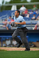 Umpire Raul Moreno during a game between the Hudson Valley Renegades and Batavia Muckdogs on July 31, 2016 at Dwyer Stadium in Batavia, New York.  Hudson Valley defeated Batavia 4-1.  (Mike Janes/Four Seam Images)
