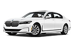Stock pictures of low aggressive front three quarter view of a 2020 BMW 7 Series 740i Luxury 4 Door Sedan