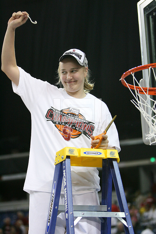 SACRAMENTO, CA - MARCH 29: Mikaela Ruef cuts the net after Stanford's 55-53 win over Xavier in the NCAA Women's Basketball Championship Elite Eight on March 29, 2010 at Arco Arena in Sacramento, California.