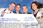 Cheque it out: Johnny Breen, Eddie Carlin and Sid Sheehan, the chefs from Fitzgerald's Restaurant in Listowel who completed a parachute jump from 13,000ft on July 31st - Pictured presenting Noreen McKenzie, from the Make a Wish Foundation, with a cheque for €6,400 on Tuesday afternoon.