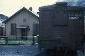 End view of D&amp;RGW box car #3578 next to the section house.<br /> D&amp;RGW