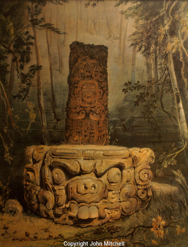 Lithograph entitled Idol and Altar at Copan by Frederick Catherwood in the Casa Catherwood in Merida, Yucatan, Mexico