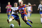 22 November 2013: Duke's Kim DeCesare (19) and Florida's Tessa Andujar (15). The University of Florida Gators played the Duke University Blue Devils at Koskinen Stadium in Durham, NC in a 2013 NCAA Division I Women's Soccer Tournament Second Round match. Duke won the game 1-0.