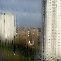 The view through the steamed-uo window of Alice Kimmins' (62) flat in a highrise block in Knightswood.