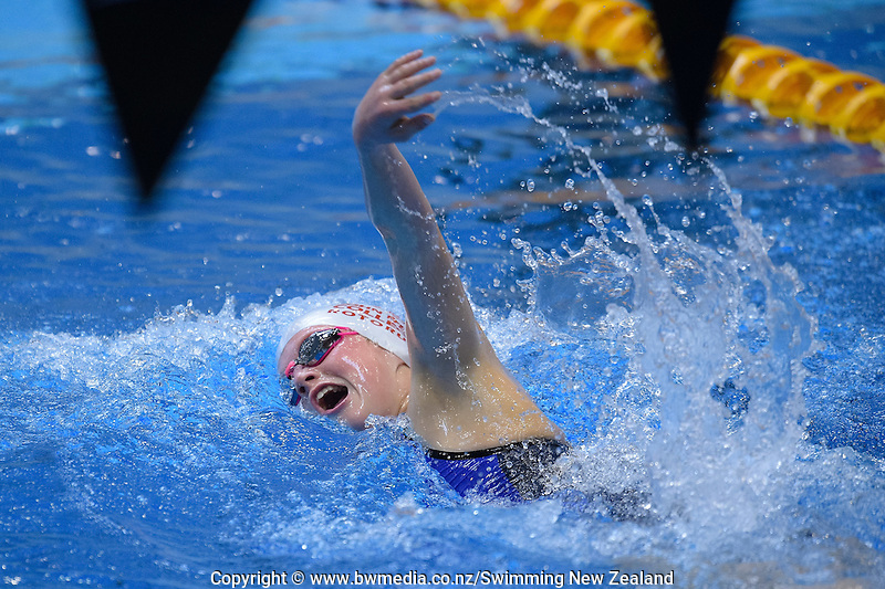Milla Theobald in action during Session Three of the 2016 New Zealand Secondary Schools Championships, Wellington Regional Aquatic Centre, Wellington, New Zealand, Saturday 10 September 2016. Photo: Marco Keller / www.bwmedia.co.nz