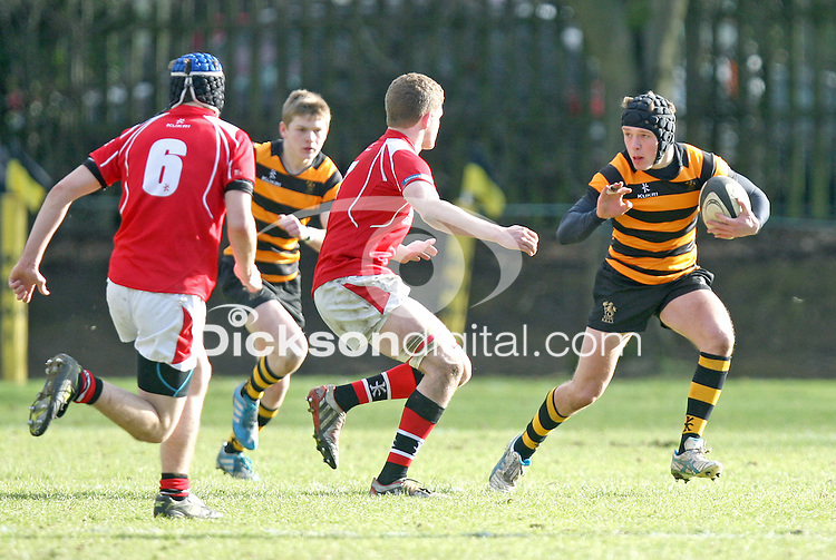SCHOOLS CUP 2015  | Saturday 7th February 2015<br /> <br /> Andrew Thompson during the third round of the 2015 Ulster Schools Cup between RBAI and Regent House at Osborne Park, Belfast.<br /> <br /> Picture credit: John Dickson / DICKSONDIGITAL