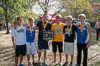 The Notre Dame varsity boys pose for a photo after their victory in 3A varsity boys race at the 2014 Hancock Cross Country Invitational in St. Louis, MO. Saturday, September 27.