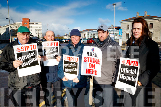 Irish Rail workers on strike in Casement station Tralee on Tuesday Morning, from left: Joseph Lantry, Billy Irwin, John O'Connor, Chris O'Sullivan and Martina McElligott.