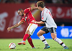 (L) Robinho of Guangzhou Evergrande competes for the ball with (R) Mario Gotze of Bayern Munich during the Bayern Munich vs Guangzhou Evergrande as part of the Bayern Munich Asian Tour 2015  at the Tianhe Sport Centre on 23 July 2015 in Guangzhou, China. Photo by Aitor Alcalde / Power Sport Images