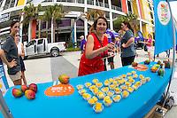 Orlando, FL - Sunday June 26, 2016: Mango, Sponsor  prior to a regular season National Women's Soccer League (NWSL) match between the Orlando Pride and the Portland Thorns FC at Camping World Stadium.