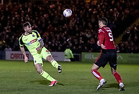 Bolton Wanderers' Daryl Murphy heads at goal under pressure from Lincoln City's Jason Shackell (right) <br /> <br /> Photographer Andrew Kearns/CameraSport<br /> <br /> The EFL Sky Bet League One - Lincoln City v Bolton Wanderers - Tuesday 14th January 2020  - LNER Stadium - Lincoln<br /> <br /> World Copyright © 2020 CameraSport. All rights reserved. 43 Linden Ave. Countesthorpe. Leicester. England. LE8 5PG - Tel: +44 (0) 116 277 4147 - admin@camerasport.com - www.camerasport.com