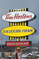 A Tim Hortons sign in Quebec City.