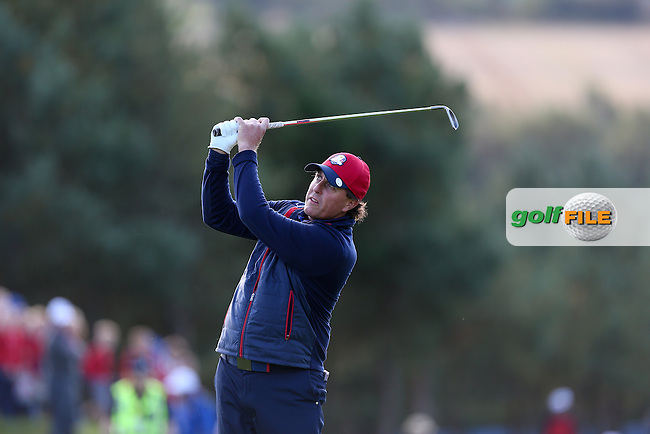 Phil Mickelson (USA) plays a deft wedge to the 11th during the 2014 Ryder Cup from Gleneagles, Perthshire, Scotland. Picture:  David Lloyd / www.golffile.ie