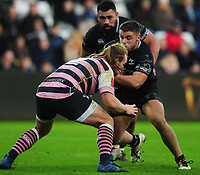 Ospreys' Nicky Smith is tackled by Cardiff Blues&rsquo; Kristian Dacey<br /> <br /> Photographer Kevin Barnes/CameraSport<br /> <br /> Guinness Pro14 Round 13 - Ospreys v Cardiff Blues - Saturday 6th January 2018 - Liberty Stadium - Swansea<br /> <br /> World Copyright &copy; 2018 CameraSport. All rights reserved. 43 Linden Ave. Countesthorpe. Leicester. England. LE8 5PG - Tel: +44 (0) 116 277 4147 - admin@camerasport.com - www.camerasport.com
